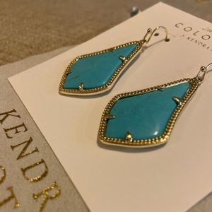 Kendra Scott Alex Earrings in Turquoise and Gold